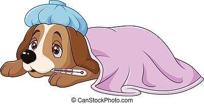 Cartoon sick dog with ice bag - Vector illustration of...