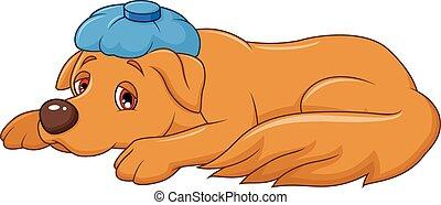 Cartoon sick dog with ice bag