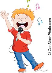 Cartoon singing happily while holdi - Vector illustration of...