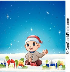 Cartoon sitting boy in the winter background with balls