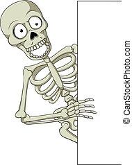 Cartoon skeleton holding blank sign