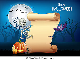 Cartoon skeleton holding scroll banner with Halloween background