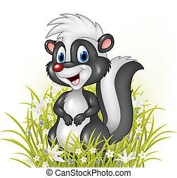 Cartoon skunk on grass background