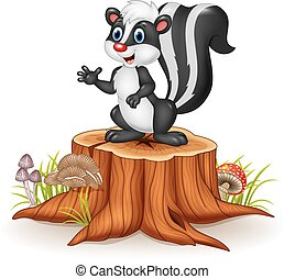 Cartoon skunk posing on tree stump