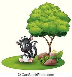 Cartoon skunk sitting under a tree on a white background