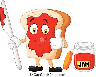 Vector illustration of Cartoon slice of bread with jam giving thumbs up