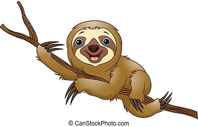 Cartoon sloth on a tree branch