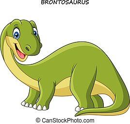 Cartoon smiling brontosaurus - Vector illustration of...