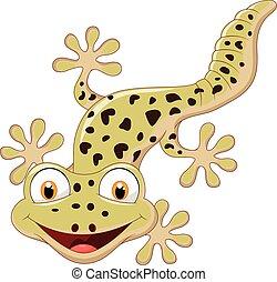 Cartoon smiling gecko