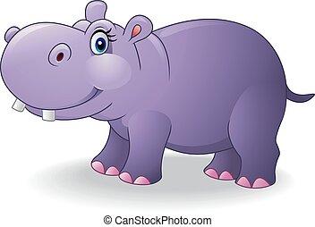 Cartoon smiling hippo