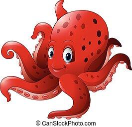 Cartoon smiling octopus