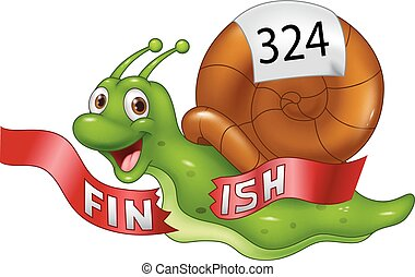 Cartoon snail crosses the finish line alone as winner -...