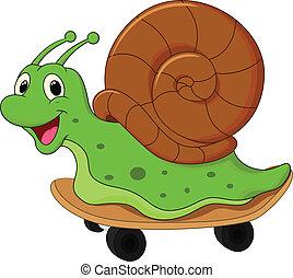 Cartoon snail on skateboard - vector illustration of Cartoon...