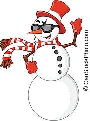 cartoon snowman waving hand