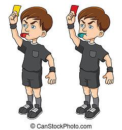 Soccer referees - Vector illustration of Cartoon Soccer...