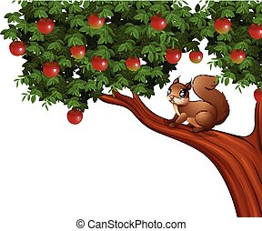 Cartoon squirrel on apple tree
