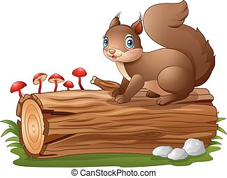 Cartoon squirrel on tree log isolat