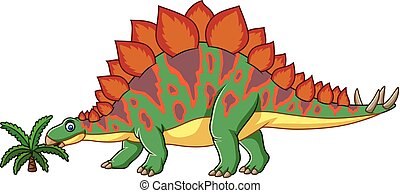 Cartoon stegosaurus isolated on white background - Vector...