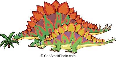 Cartoon stegosaurus with her baby