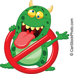 Cartoon Stop virus - green virus in