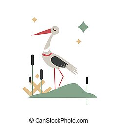 Vector Illustration of cartoon stork bird isolated on white background