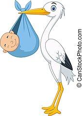Cartoon stork carrying a newborn