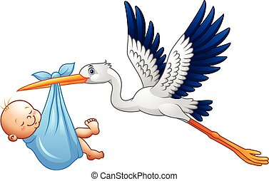 Cartoon stork with baby boy - Vector illustration of Cartoon...