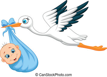 Cartoon Stork with baby - Vector illustration of Cartoon...