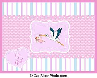 Cartoon stork with baby girl card