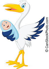 Cartoon stork with baby