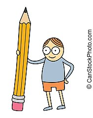 Vector illustration of cartoon style little kid holding a big pencil