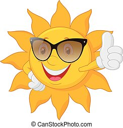 Cartoon sun giving thumb up - Vector illustration of Cartoon...