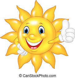 Cartoon sun giving thumbs up