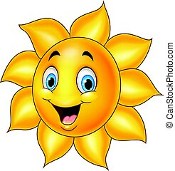 Cartoon sun isolated on white background
