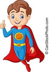 Cartoon superhero boy gives thumb up