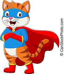 Cartoon superhero cat with eyes mask - Vector illustration ...