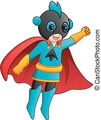 Cartoon superhero girl flying