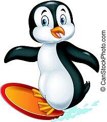 Cartoon surfing penguin