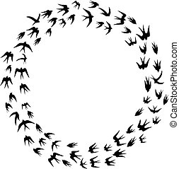 Cartoon Swallow silhouette in circl - Vector illustration of...