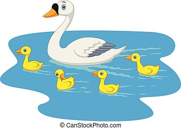 Cartoon swan family swimming in the pond