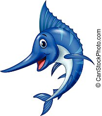 Cartoon swordfish isolated on white background