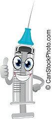 Cartoon Syringe Mascot