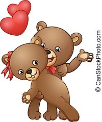 Cartoon teddy bear couple dancing with red heart