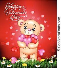 Cartoon teddy bear hugging bunch of heart
