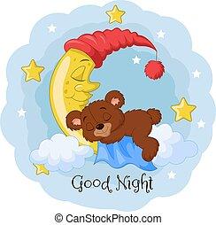 Cartoon teddy bear sleep on the moon