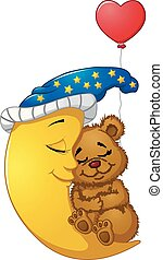 Cartoon teddy bear sleep on the moon