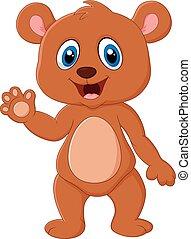 Cartoon teddy bear waving hand