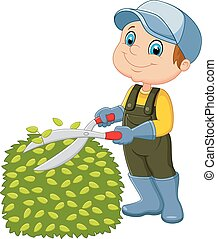 Cartoon the man cutting grass