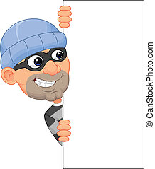 Vector illustration of Cartoon thief looking around the edge of a blank sign