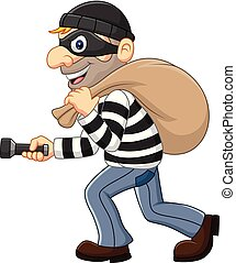 Cartoon Thief walking and carrying a bag with flashlight